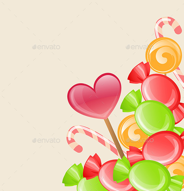 Holiday Background with Candy - Food Objects