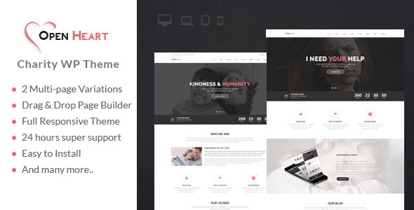 Open Heart – MultiPurpose Charity/Nonprofit/Fundraising WordPress Theme