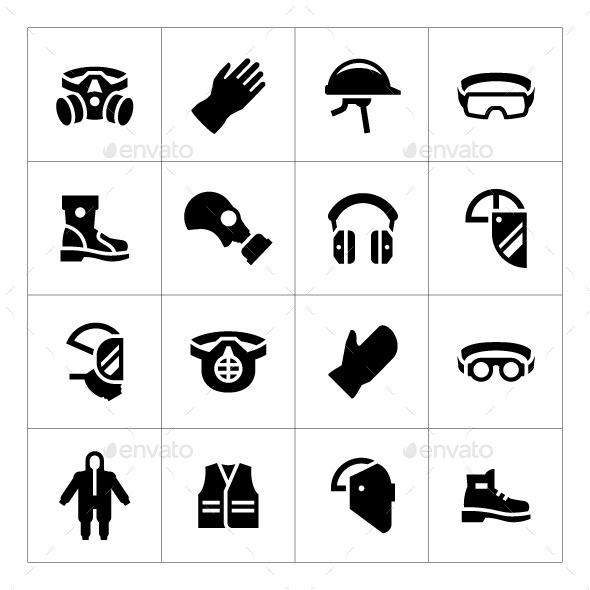 Set Icons of Personal Protective Equipment - Man-made objects Objects