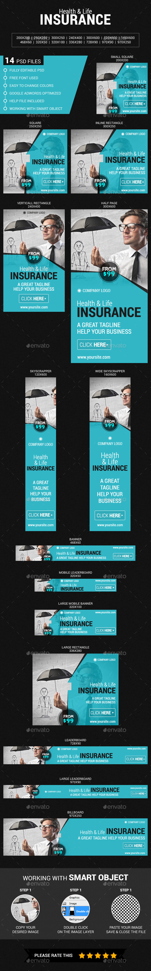 Health & Life Insurance - Banners & Ads Web Elements