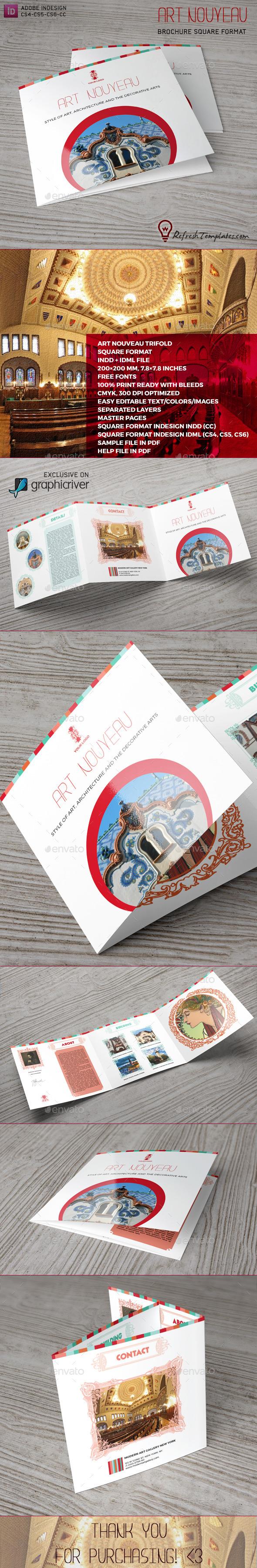 Art Nouveau Square Brochure - Brochures Print Templates