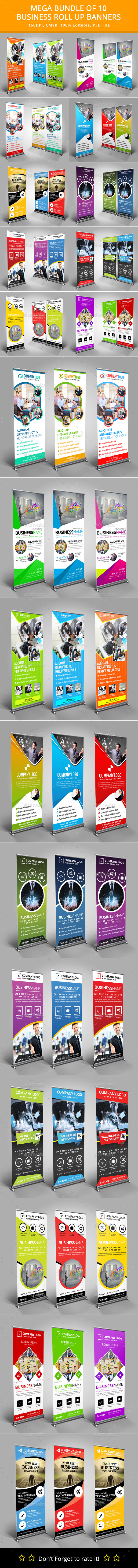 Mega Bundle of 10 Roll Up Banners - Signage Print Templates