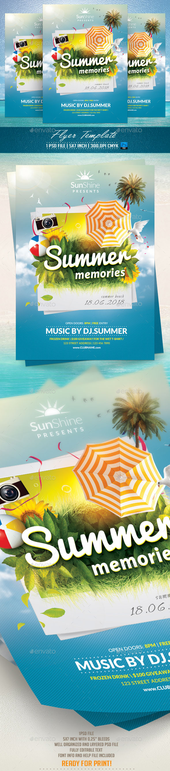 Summer Memories Flyer Template - Flyers Print Templates