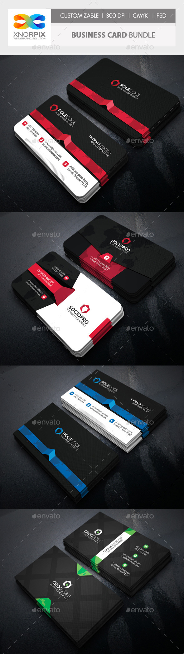 Business Card Bundle 3 in 1-Vol 55 - Corporate Business Cards