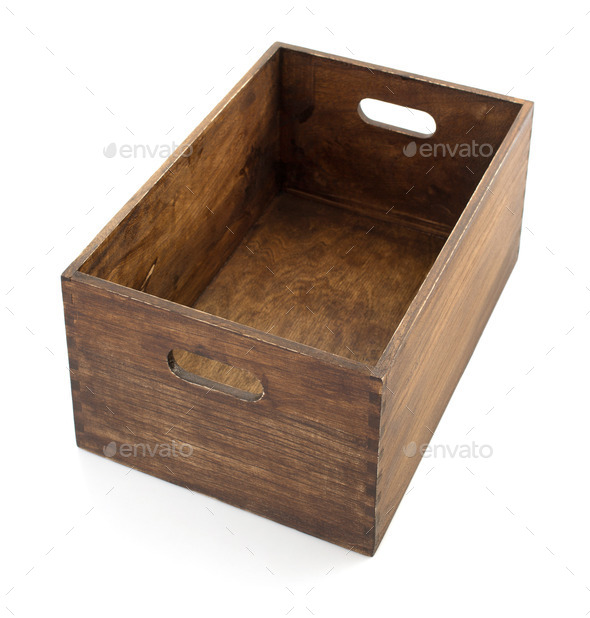 wooden box isolated on white - Stock Photo - Images