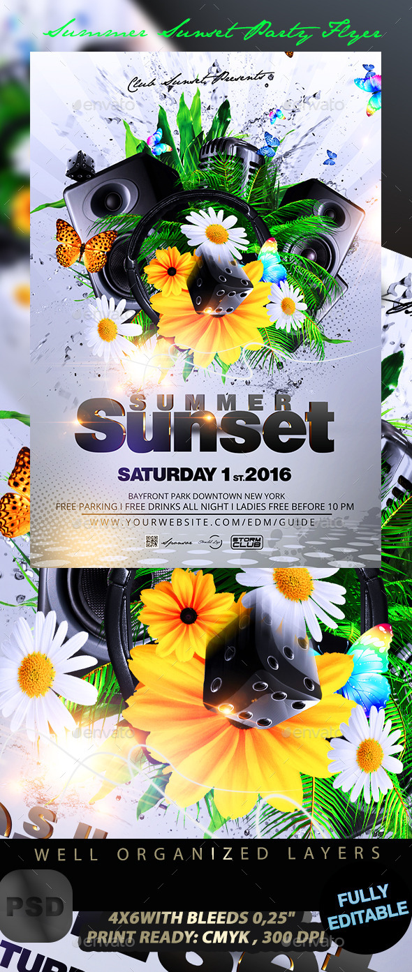 Summer Sunset Party Flyer - Events Flyers