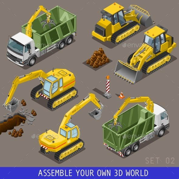 City Transport Construction Isometric Flat 3d Icon - Objects Vectors