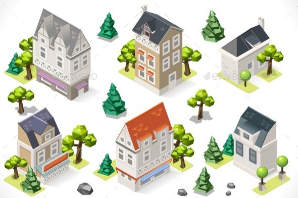Europe Building Set Tint Cartoon Isometric 3d - Buildings Objects