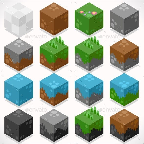 Textured Cubes Mine Elements Builder Craft Kit - Objects Vectors