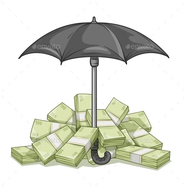 Umbrella Protecting Bundles with Money - Miscellaneous Vectors