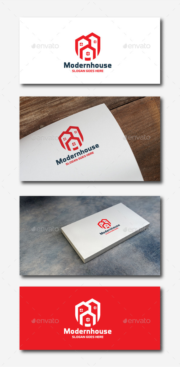 Modern house logo by 3ab2ou graphicriver for Modern house logo