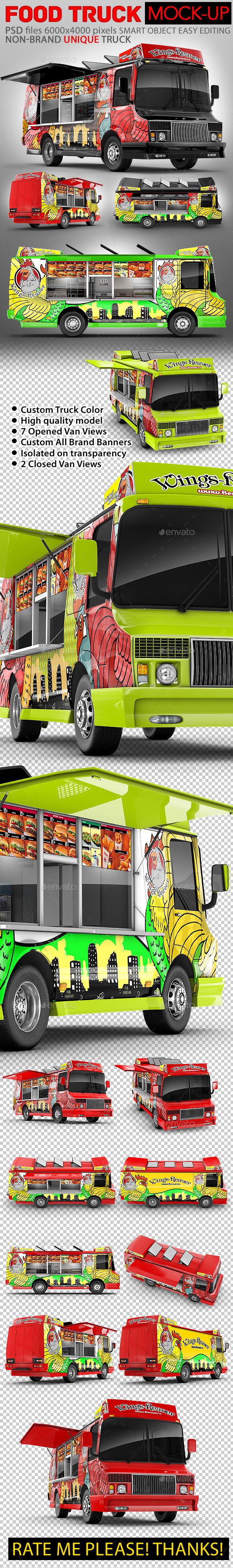 Food Truck Mock-Up. Unique 3D model mockup. - Vehicle Wraps Print