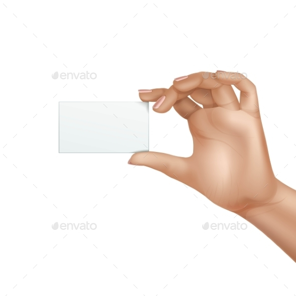 Vector Female Hand Holding Blank Card Isolated - Miscellaneous Vectors