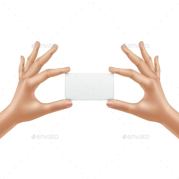 Vector Female Hands Holding Blank Card Isolated - Miscellaneous Vectors