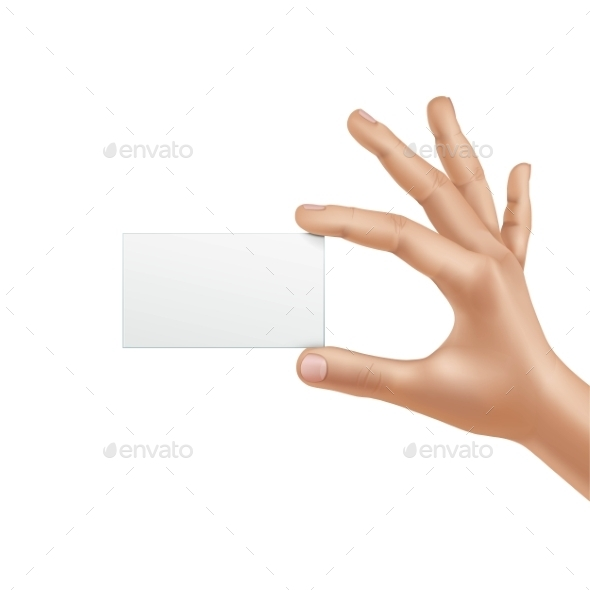 Vector Male Hand Holding Blank Card - Miscellaneous Vectors