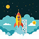 Launch Rocket in Flat Style - GraphicRiver Item for Sale