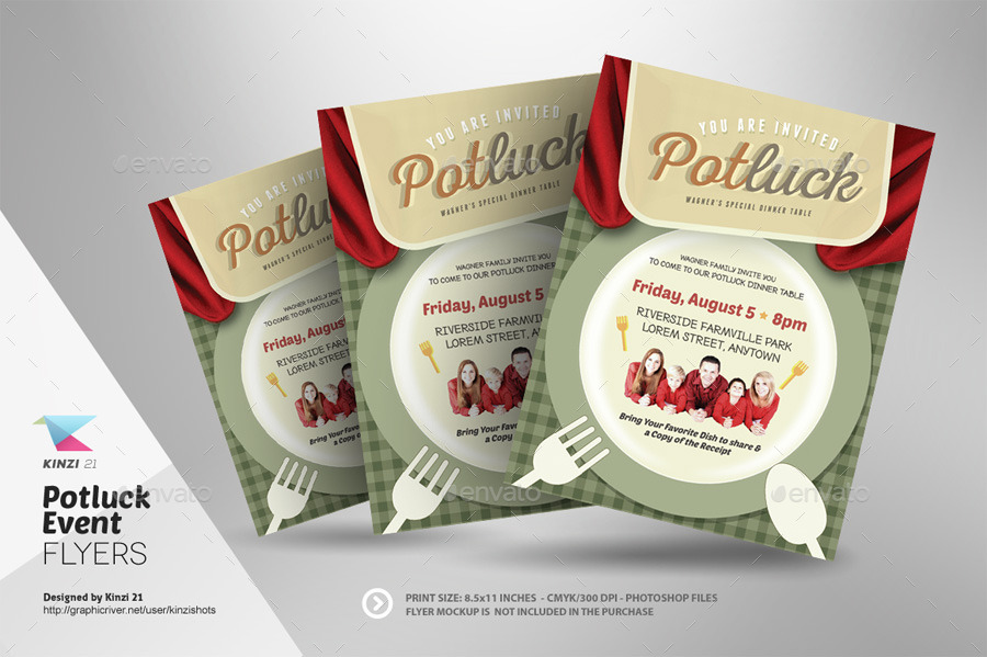 Potluck Event Flyers By Kinzishots Graphicriver