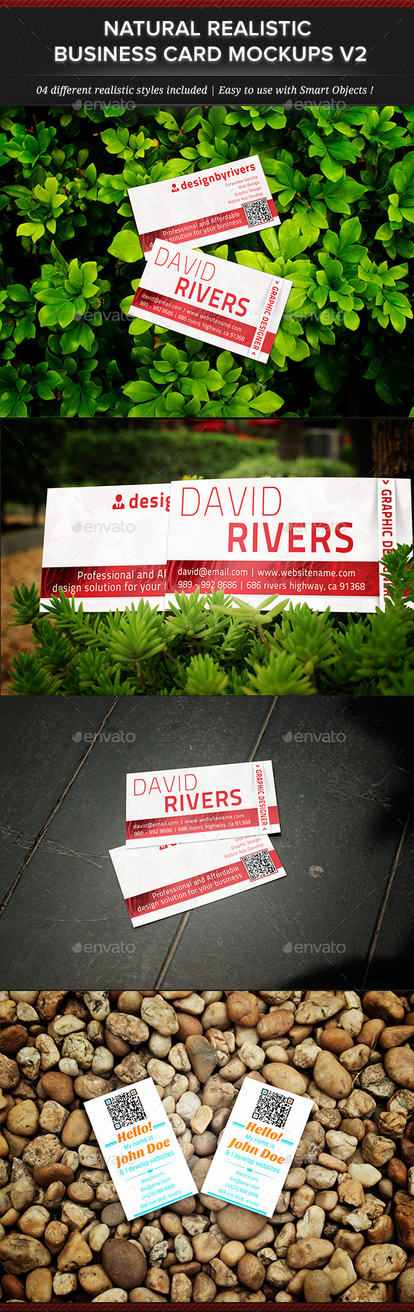 Natural Realistic Business Card Mockup V2 - Business Cards Print