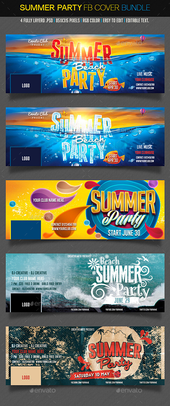 Summer Facebook Bundle - Facebook Timeline Covers Social Media