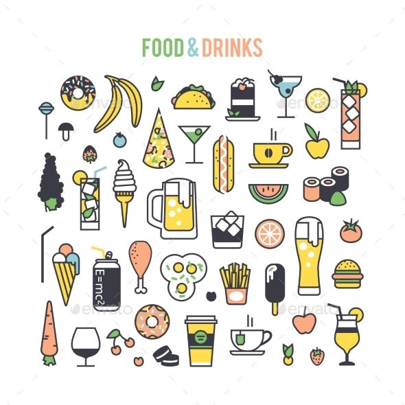 Set Icons Food And Drinks. - Food Objects