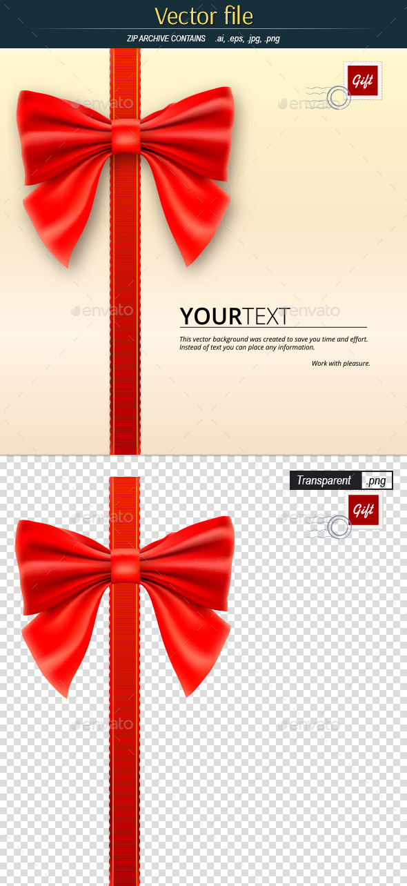 Letter with Bow - Template for Greeting Card - Decorative Symbols Decorative