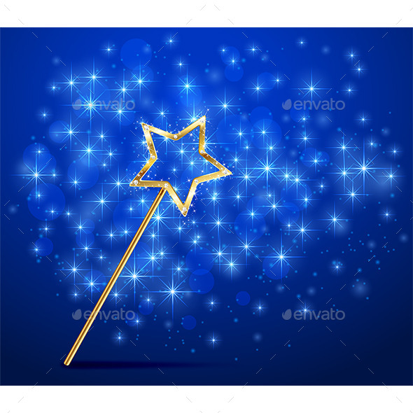 Sparkle Magic Wand on Blue Background - Miscellaneous Vectors