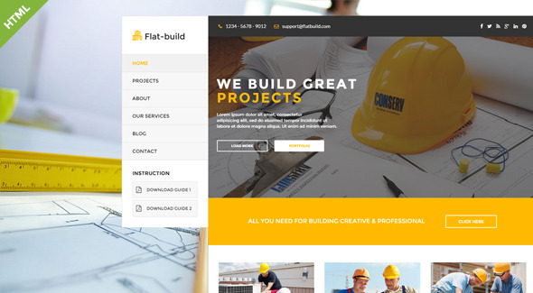 Flatbuild - HTML Construction Business Template