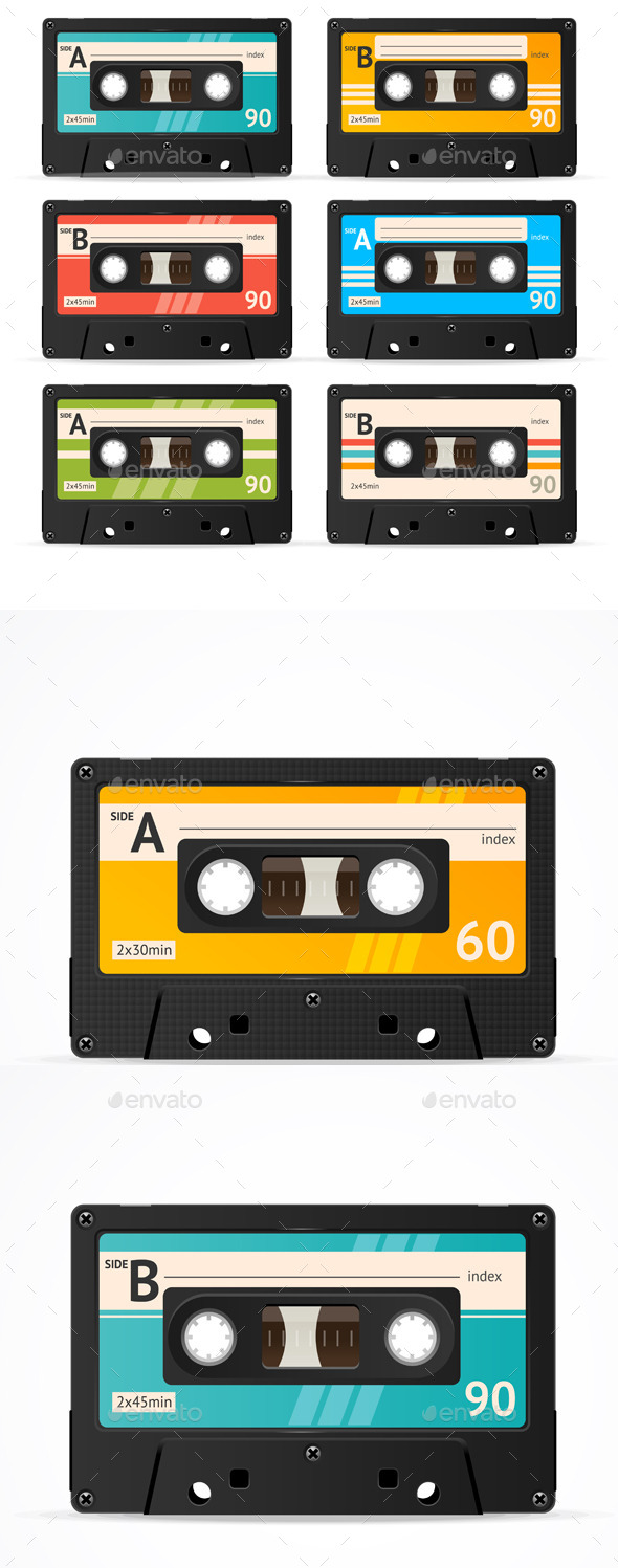 Vector Cassette Tape Collection  - Objects Vectors