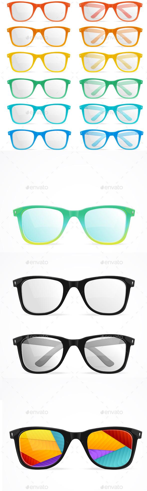 Vector Glasses Set - Objects Vectors