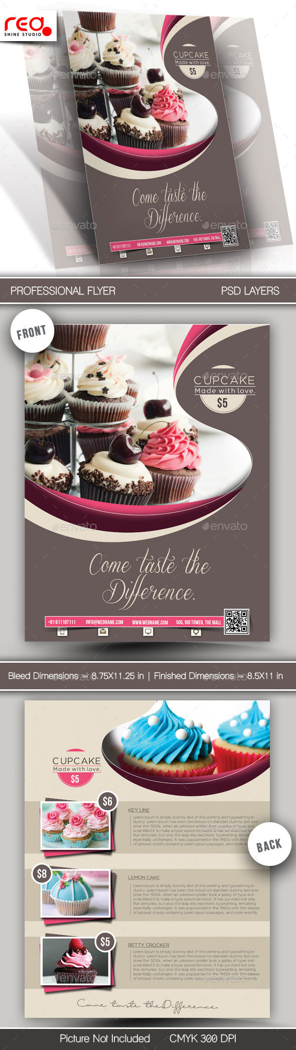 Cupcake Flyer & Poster Template - 1 - Restaurant Flyers