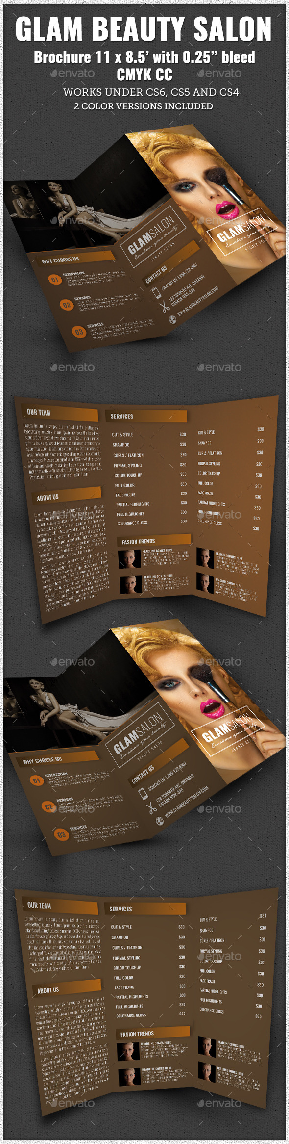 Glam Beauty Salon Trifold Brochure Indesign - Corporate Brochures