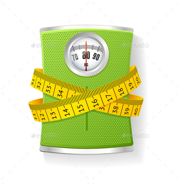 Vector Weights and Tape Measure - Health/Medicine Conceptual
