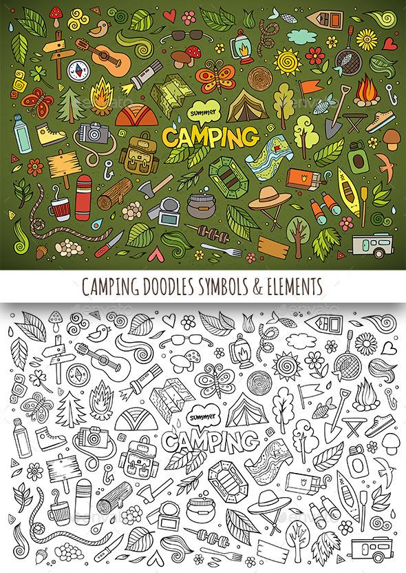 Hand Drawn Camping Doodles Symbols - Travel Conceptual