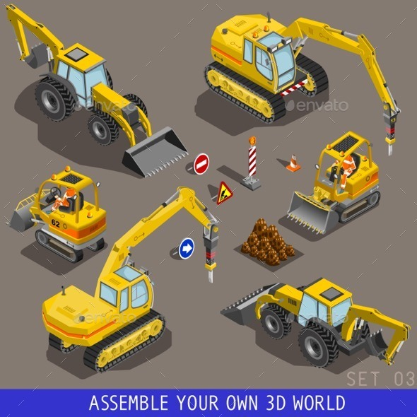 Isometric City Construction Transport Flat 3d Icon - Objects Vectors