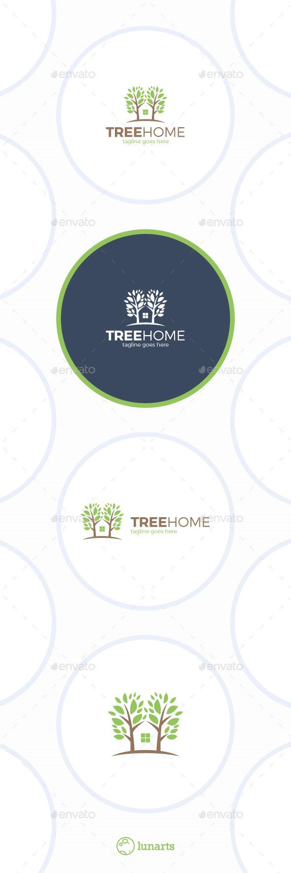 Tree Home Logo - Eco House - Nature Logo Templates