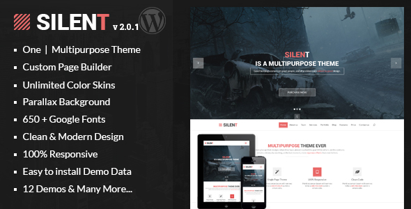 Silent – One Page Multipurpose WordPress Theme