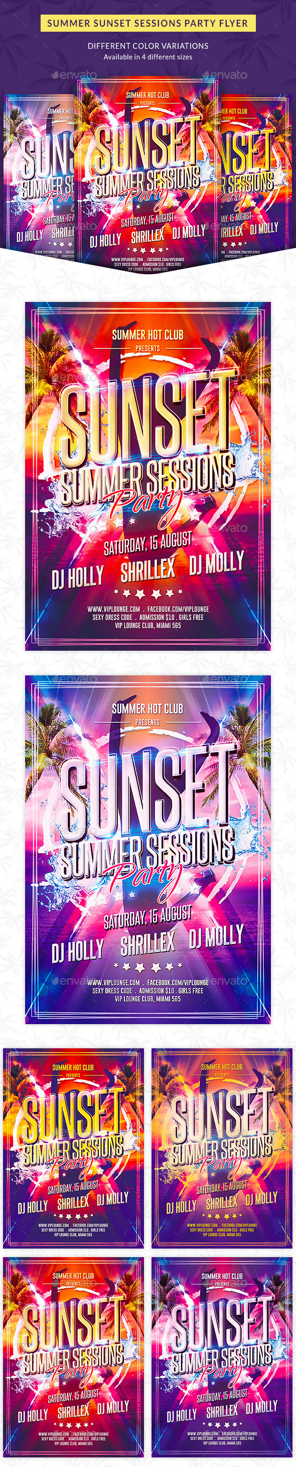 Summer Sunset Sessions Party Flyer - Clubs & Parties Events