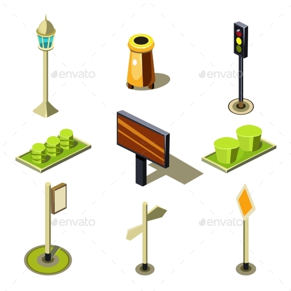 Flat 3d Isometric High Quality City Street Urban - Objects Vectors
