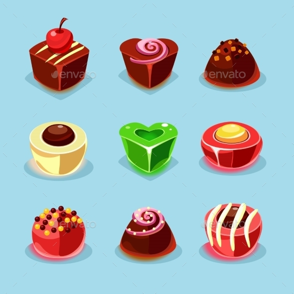 Sweets And Candies Icons  - Food Objects