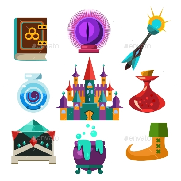 Collection Of Vector Fairy Tale Elements - Objects Vectors