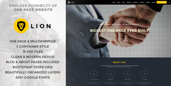 Lion – One Page & Multipurpose Retina Theme