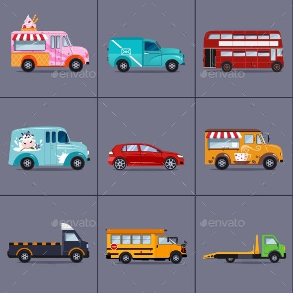 Vector Of Various Urban And City Cars, Vehicles  - Objects Vectors