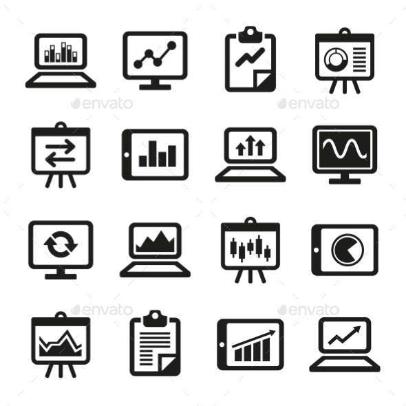 Simple Diagram And Graphs Icons Set. Vector - Business Icons