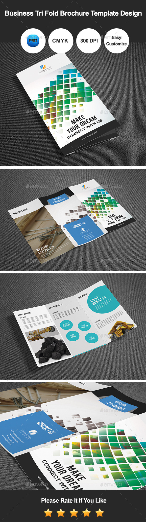 Business Tri Fold Brochure Template Design - Corporate Brochures