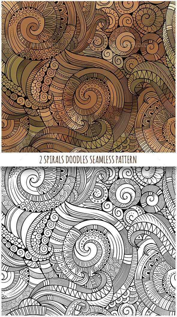 2 Spiral Seamless Pattern - Backgrounds Decorative