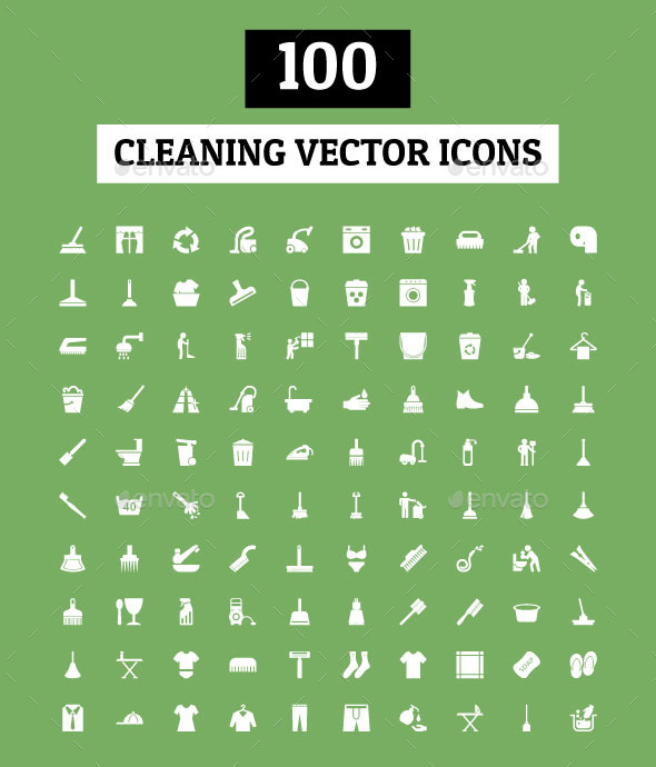 100 Cleaning Vector Icons - Objects Icons
