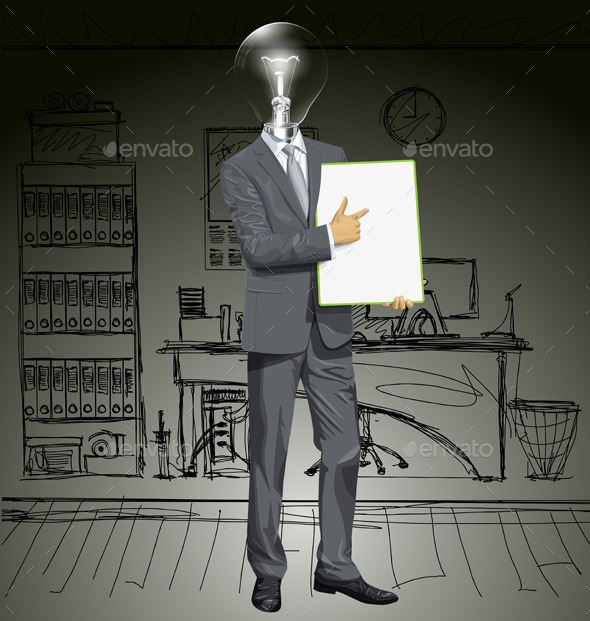 Lamp Head Businessman with Empty Board - Concepts Business