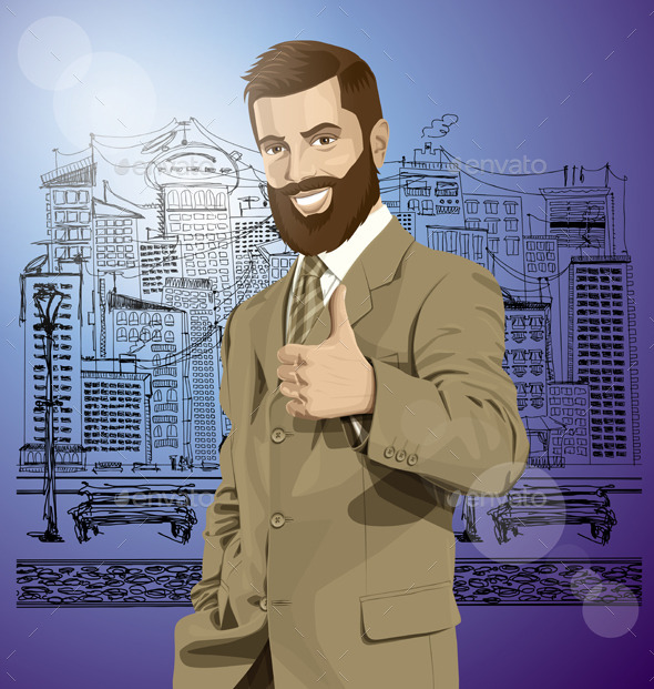 Vector Business Man With Beard Shows Well Done - People Characters