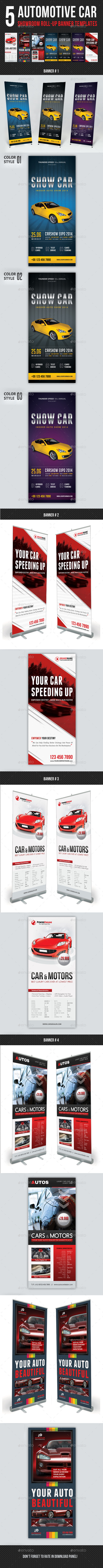 5 in 1 Automotive Car Showroom Banner Bundle - Signage Print Templates