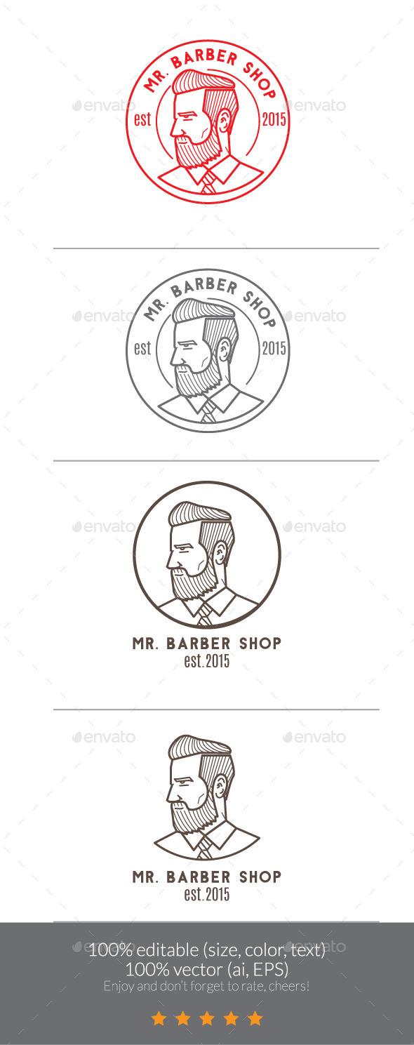 Mr Barber Shop Logo Mascot - Humans Logo Templates